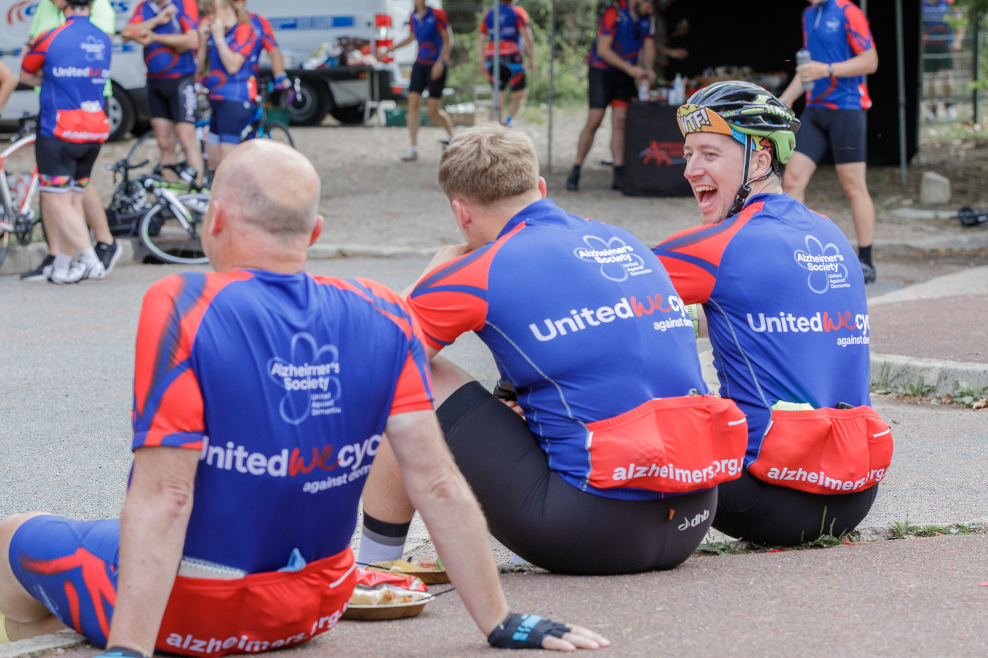 London to Paris Cycle Challenge 2018 - Laughter at lunch